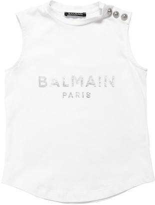 Balmain Sleeveless Logo Cotton Jersey Tank Top