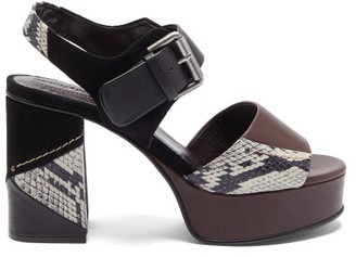 See by Chloe Panelled Leather And Suede Platform Sandals - Black Multi