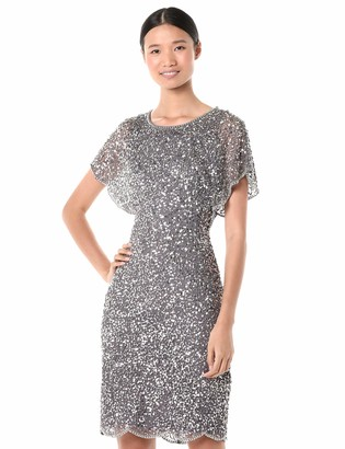 Adrianna Papell Women's Sequin Beaded Cocktail Dress with Flutter Sleeves