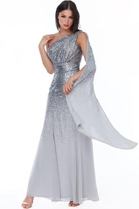 Goddiva Silver One Shoulder Sequin & Chiffon Maxi Dress