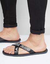 Armani Jeans Logo Cross Over Flip Flops