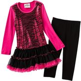 Knitworks zebra sequined tutu dress and leggings set - girls 4-6x