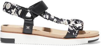 Sam Edelman Ashie Floral-print Satin-twill And Leather Platform Sandals