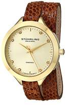 Stuhrling Original Women's Quartz Watch with Beige Dial Analogue Display and Brown Leather Strap 624.03