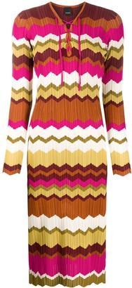 Pinko fitted zig-zag print dress