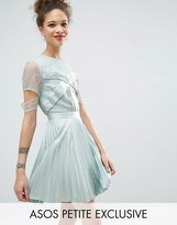 Asos Satin Pleat and Lace Mix Mini Dress with Cut Out Sleeve