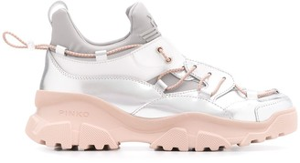 Pinko Metallic Chunky Sole Sneakers