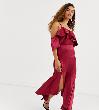 True Decadence Petite asymmetric maxi skirt co-ord with ruffle hem in raspberry