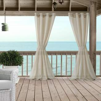 "Bali Sheer Indoor/Outdoor Tieback Curtain Panel, 52"" x 95"""