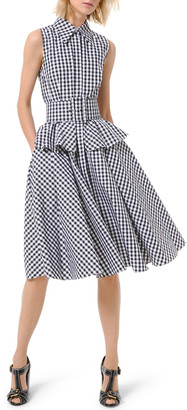 Michael Kors Gingham Peplum Sleeveless Shirtdress with Belt
