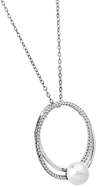 Majorica Cubic Zirconia & Simulated Pearl Double-Hoop Adjustable Pendant Necklace, 30