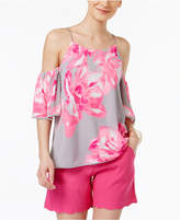 INC International Concepts Petite Printed Cold-Shoulder Top, Created for Macy's