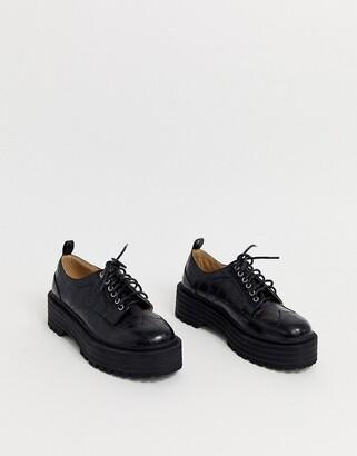 Raid RAID Maleah chunky lace up flatform shoes in black croc