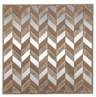 Brimfield & May Modern Chevron Patterned Wooden Wall Panel, Silver and Brown