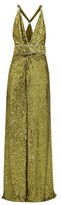 Dundas Side-slit Crystal-embellished Sequinned Dress - Womens - Green