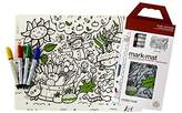 Modern Twist Kids Mark-Mat Silicone Coloring Placemat with 8 Dry-Erase Markers, Garden Play ...