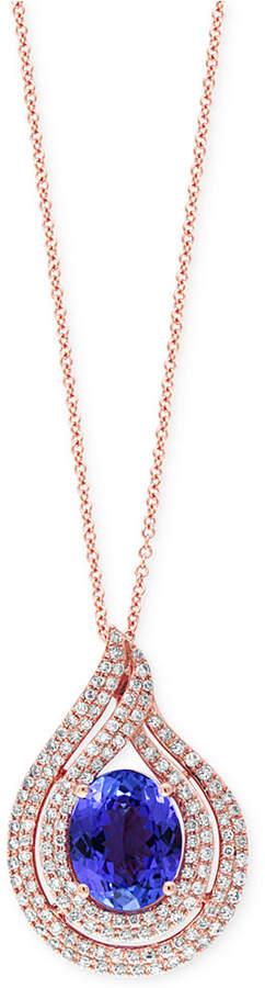 Effy Tanzanite (2-5/8 ct. t.w.) and Diamond (1/2 ct. t.w) Swirl Pendant Necklace in 14k Rose Gold