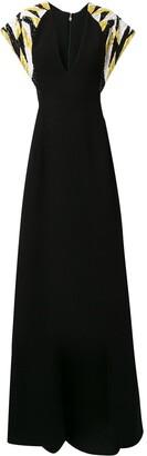 Saiid Kobeisy Embellished Sleeve Gown