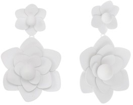 Christian Siriano New York Gold Tone and White Flower Drop Clip Earrings