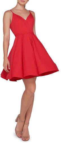 Mac Duggal Ieena for V-Neck Spaghetti-Strap Fit-and-Flare Mini Dress