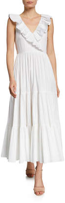 Kate Spade V-Neck Sleeveless Ruffle Tiered Poplin Dress