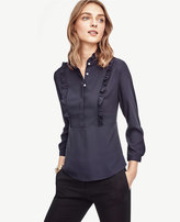 Ann Taylor Mixed Media Ruffle Top