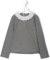 Familiar crochet collar and faux pearl detail blouse