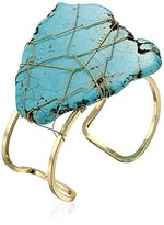 Yochi Turquoise Wire-Wrapped Agate Cuff Bracelet