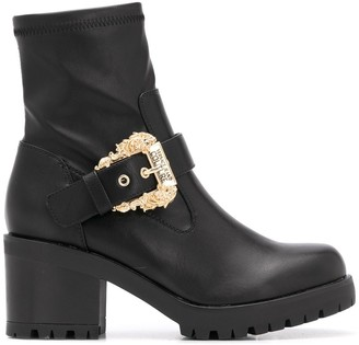 Versace Jeans Couture Buckle-Detail Ankle Boots