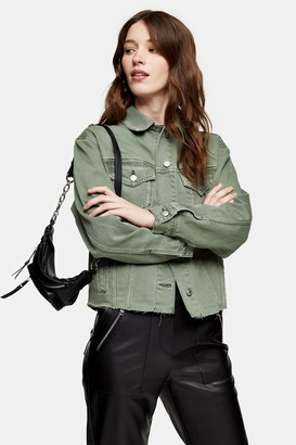 Topshop Khaki Denim Raw Hem Oversized Jacket