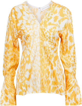 Victoria Beckham Fluted Printed Silk-twill Top