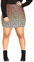 City Chic Plus Size Women's Leopard Lover Miniskirt