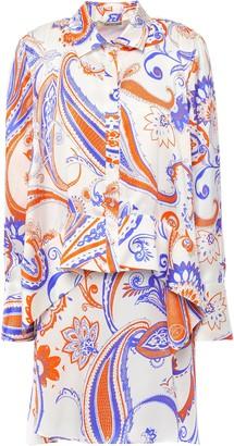 Roberto Cavalli Asymmetric Layered Printed Silk-satin Mini Shirt Dress