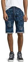 PRPS Distressed Fleece Shorts, Natural Indigo