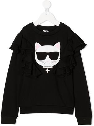 Karl Lagerfeld Paris Cat Print Ruffle Sweatshirt