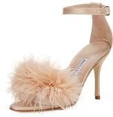 Manolo Blahnik Plumas Feather-Embellished Sandal, Flesh