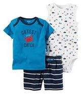"Carter's Baby Boy Boat Bodysuit, ""Cutest Little Catch"" Tee & Striped Shorts Set"