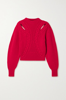 Alexander McQueen Cutout Cable-knit Wool And Cashmere-blend Sweater - Red