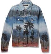 Amiri Slim-Fit Distressed Printed Denim Jacket