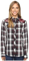Roper 0664 Cream and Black Plaid with Lurex and Embroidery Shirt