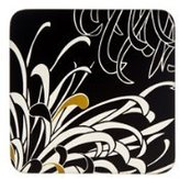 Denby 10.5 x 10.5 cm Cork Backed Monsoon Chrysanthemum Charcoal Coaster Set, Set of 4, Black/ Gold/ Cream