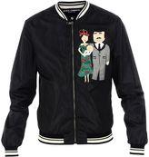 Dolce & Gabbana Black Family Patch Bomber Jacket
