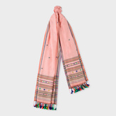 Paul Smith Women's Pink Stars And Stripes Cotton-Silk Scarf