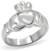 Eternal Sparkles Women's Stainless Steel Claddagh Ring,Size:10