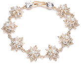 Marchesa Simulated Pearl and Goldtone Brass Floral Flex Bracelet