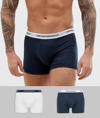 Emporio Armani 2 pack logo trunks in navy/white
