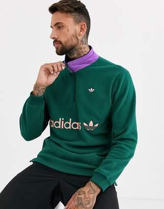 adidas sweatshirt with half zip in green