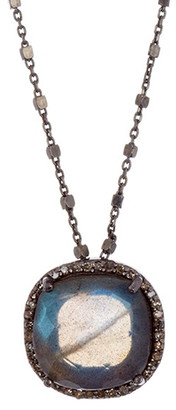 ADORNIA Women's Necklaces grey - Labradorite & 0.3-carat Diamond Round Pendant Necklace