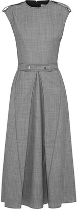 Victoria Beckham Belted Pleated Melange Wool Midi Dress