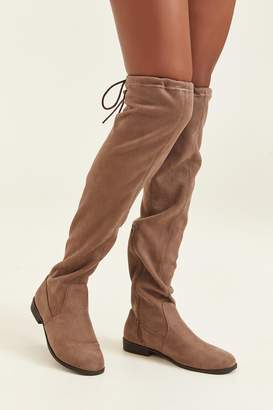Ardene Stretchy Faux Suede Over-the-Knee Boots - Shoes |